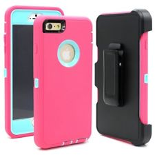 iPhone 6 : 6S 4.7″ Defender Case – Light Blue & Pink