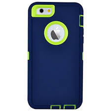 iPhone 6 Plus : 6S Plus 5.5″ Defender Case – Blue & Lime Green